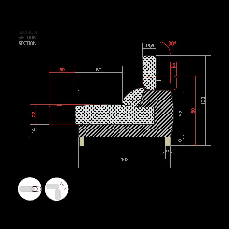 medidas sofa nordika